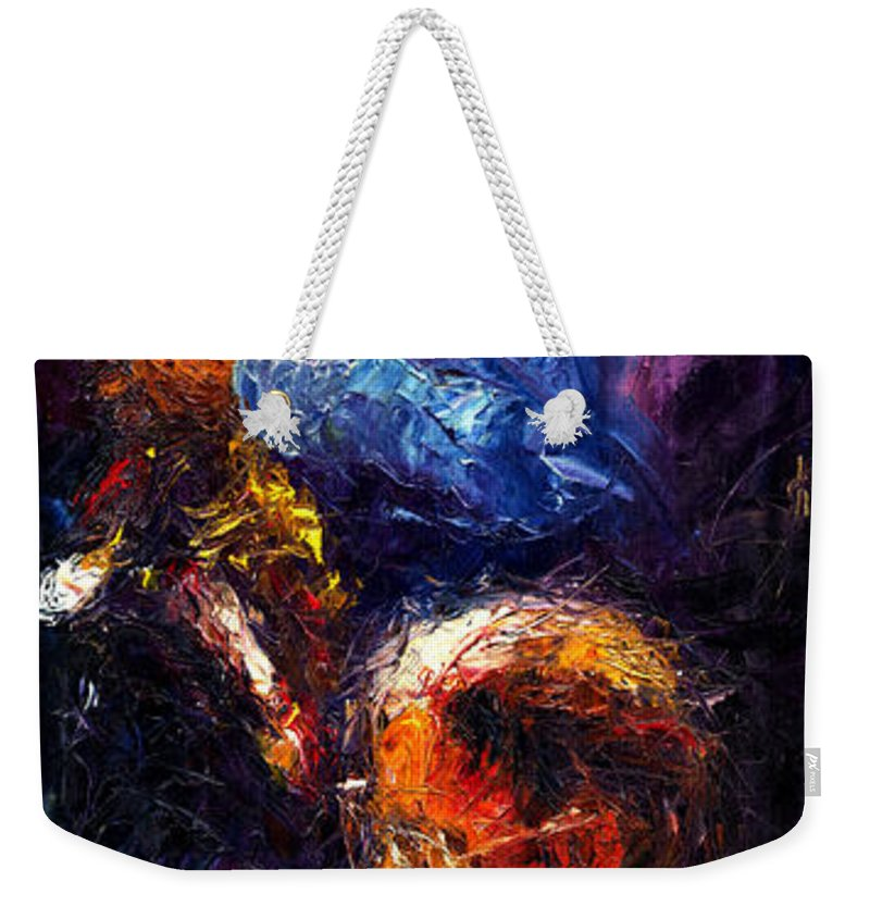 Jazz Weekender Tote Bag featuring the painting Jazz Duet by Yuriy Shevchuk