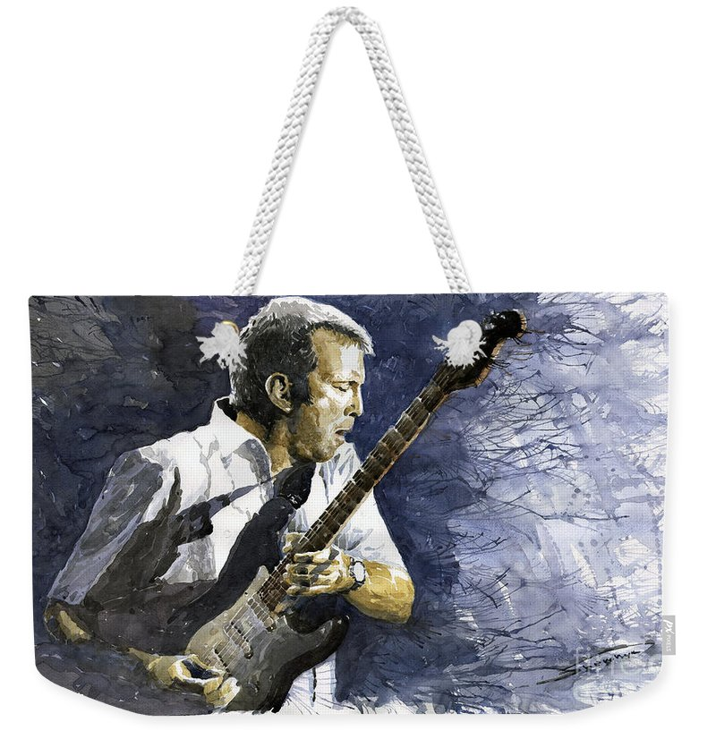 Eric Clapton Weekender Tote Bag featuring the painting Jazz Eric Clapton 1 by Yuriy Shevchuk