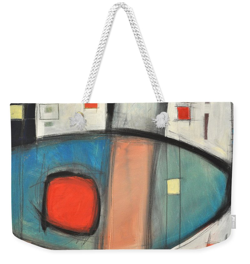 Abstract Weekender Tote Bag featuring the painting Jazz Improv 081510a by Tim Nyberg