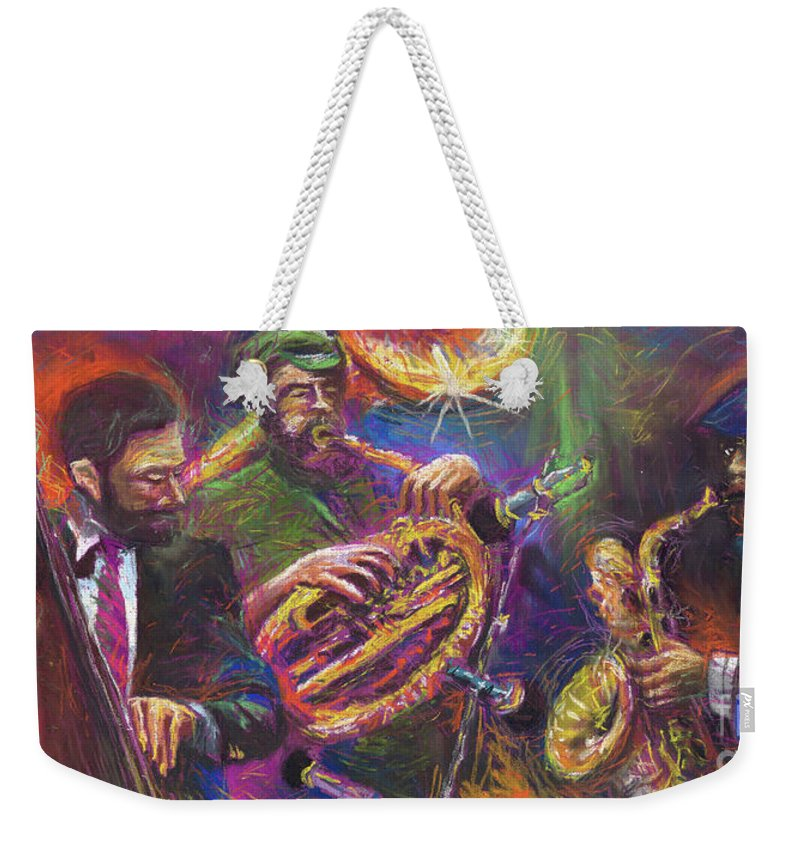 Jazz Weekender Tote Bag featuring the painting Jazz Jazzband Trio by Yuriy Shevchuk