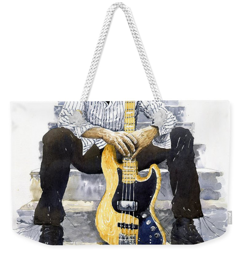 Jazz Weekender Tote Bag featuring the painting Jazz Marcus Miller 4 by Yuriy Shevchuk