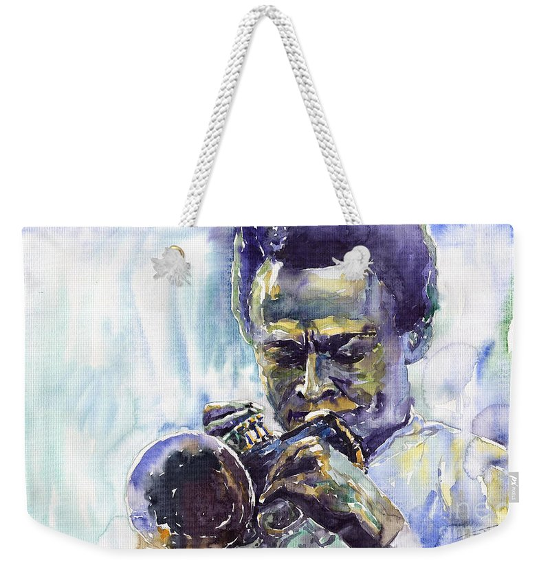 Jazz Miles Davis Music Musiciant Trumpeter Portret Weekender Tote Bag featuring the painting Jazz Miles Davis 10 by Yuriy Shevchuk