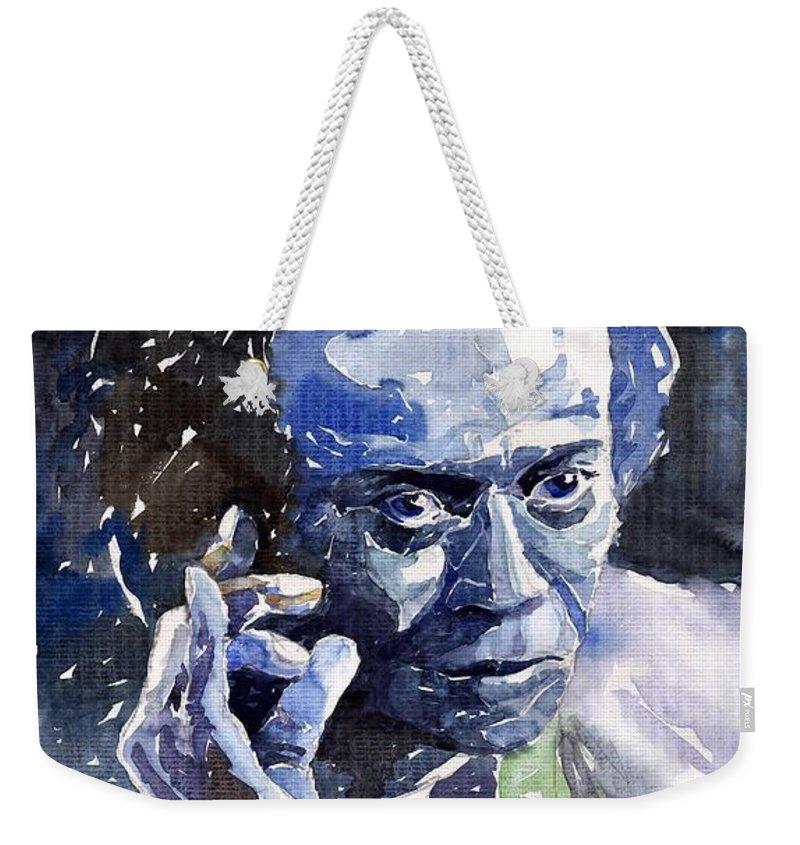 Jazz Weekender Tote Bag featuring the painting Jazz Miles Davis 11 Blue by Yuriy Shevchuk