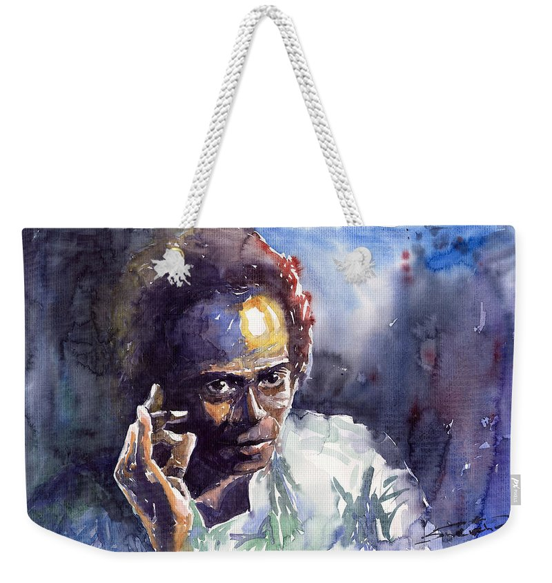 Jazz Watercolor Watercolour Miles Davis Portret Weekender Tote Bag featuring the painting Jazz Miles Davis 11 by Yuriy Shevchuk