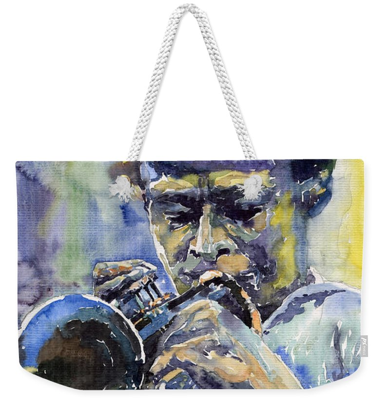 Jazz Weekender Tote Bag featuring the painting Jazz Miles Davis 12 by Yuriy Shevchuk