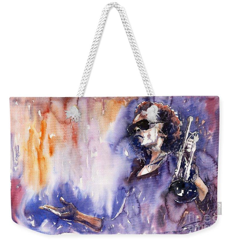 Jazz Weekender Tote Bag featuring the painting Jazz Miles Davis 14 by Yuriy Shevchuk