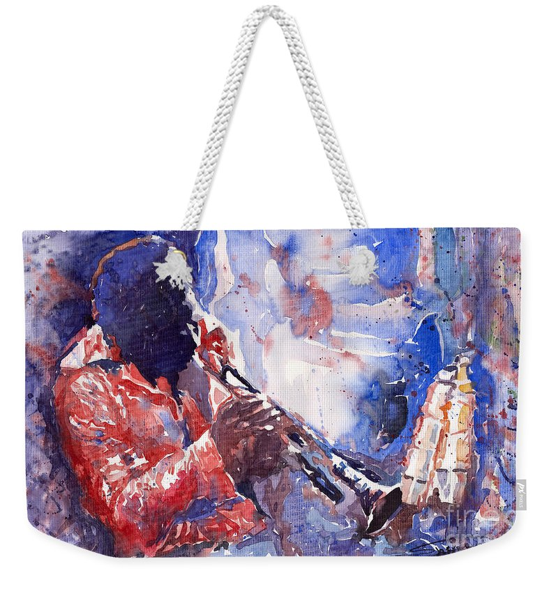 Jazz Weekender Tote Bag featuring the painting Jazz Miles Davis 15 by Yuriy Shevchuk
