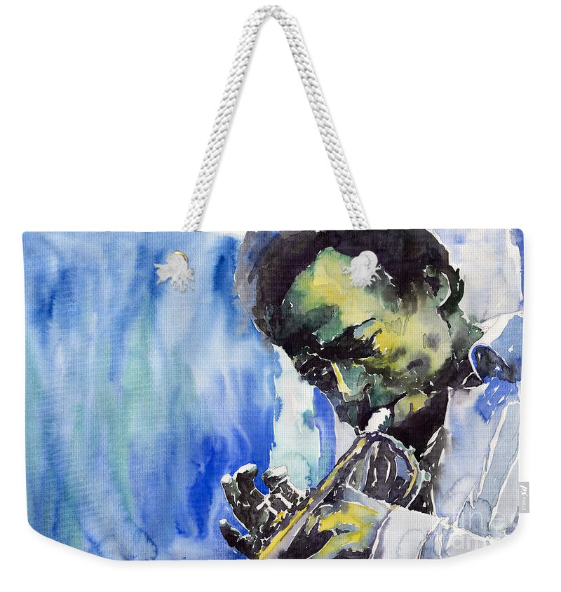 Weekender Tote Bag featuring the painting Jazz Miles Davis 5 by Yuriy Shevchuk