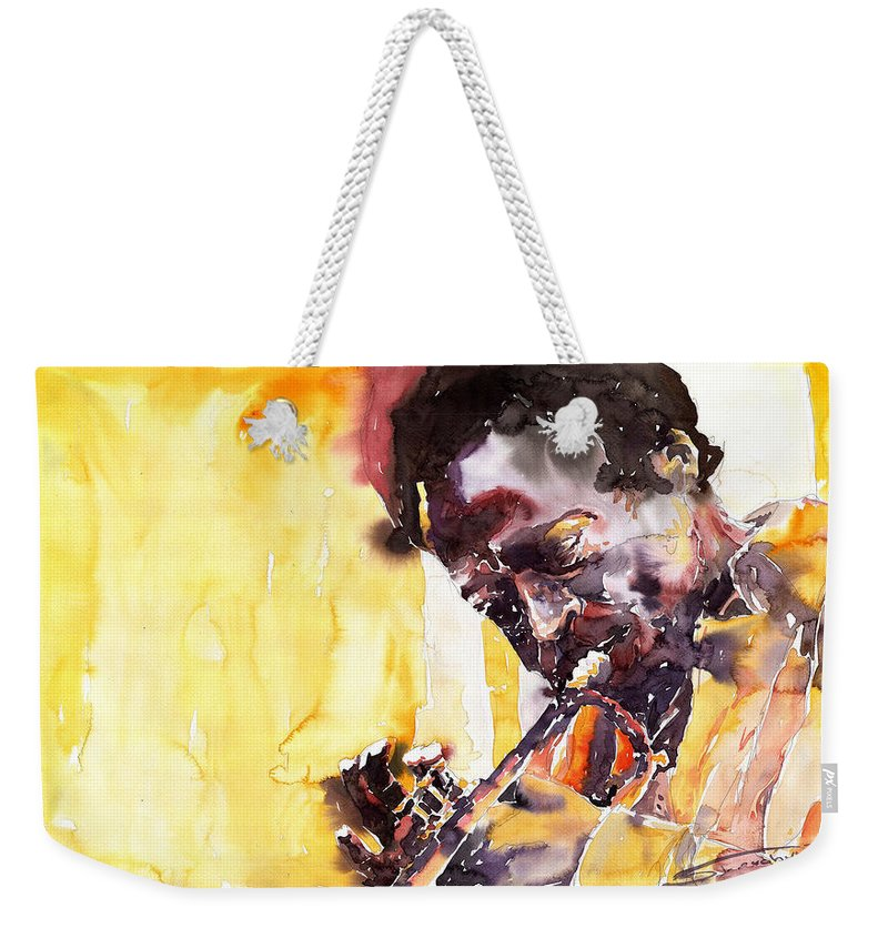 Jazz Music Watercolor Watercolour Miles Davis Trumpeter Portret Weekender Tote Bag featuring the painting Jazz Miles Davis 6 by Yuriy Shevchuk