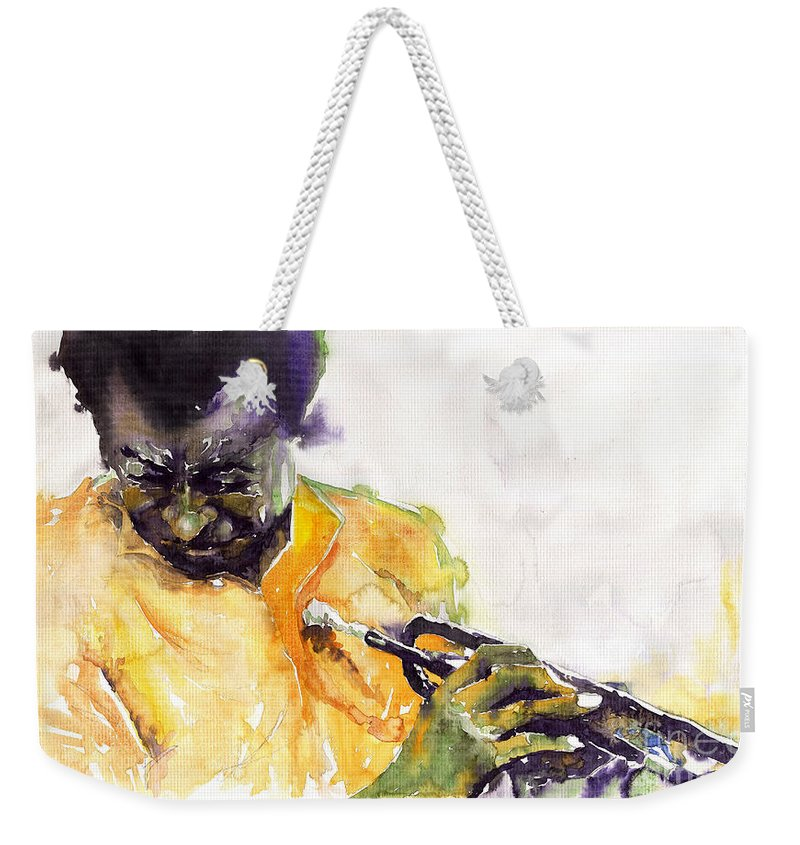 Davis Figurativ Jazz Miles Music Portret Trumpeter Watercolor Watercolour Weekender Tote Bag featuring the painting Jazz Miles Davis 7 by Yuriy Shevchuk