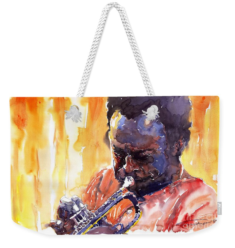 Jazz Miles Davis Music Watercolor Watercolour Figurativ Portret Trumpeter Weekender Tote Bag featuring the painting Jazz Miles Davis 8 by Yuriy Shevchuk
