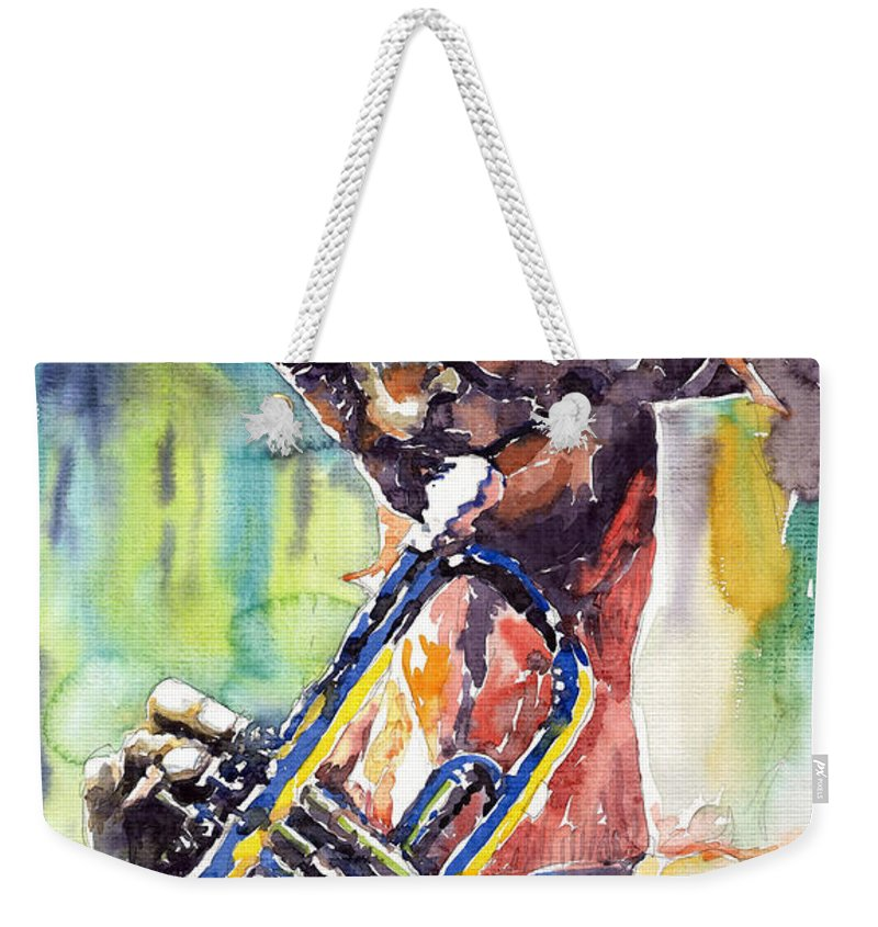 Jazz Miles Davis Music Musiciant Trumpeter Portret Weekender Tote Bag featuring the painting Jazz Miles Davis 9 Blue by Yuriy Shevchuk