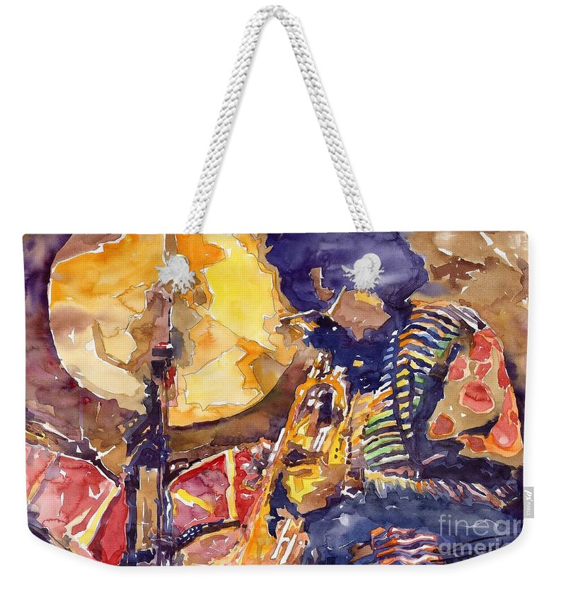 Miles Davis Figurative Jazz Miles Music Musiciant Trumpeter Watercolor Watercolour Weekender Tote Bag featuring the painting Jazz Miles Davis Electric 2 by Yuriy Shevchuk