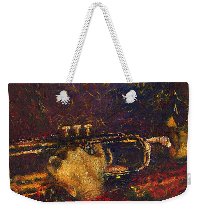 Jazz Weekender Tote Bag featuring the painting Jazz Miles Davis by Yuriy Shevchuk