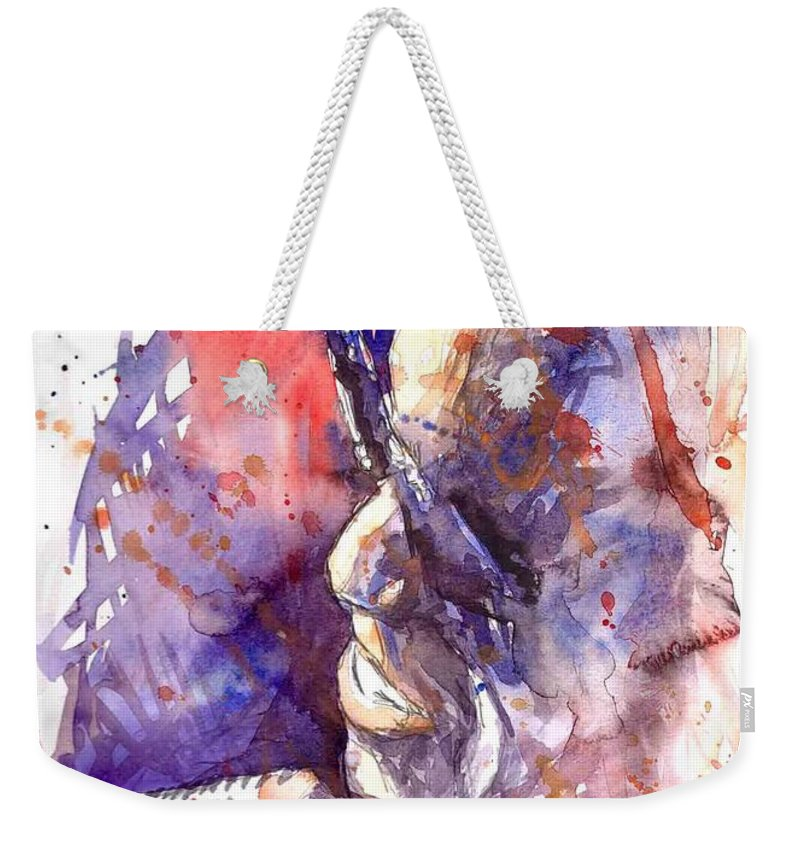 Portret Weekender Tote Bag featuring the painting Jazz Ray Charles by Yuriy Shevchuk