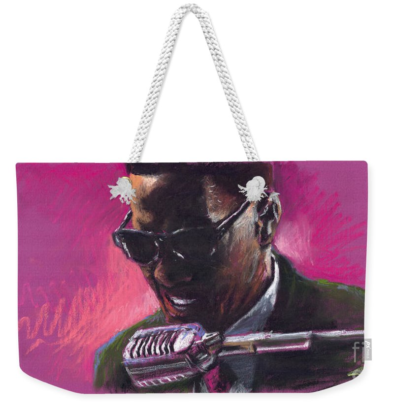 Jazz Weekender Tote Bag featuring the painting Jazz. Ray Charles.1. by Yuriy Shevchuk