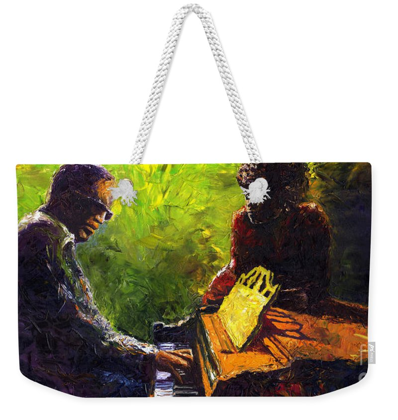 Jazz Weekender Tote Bag featuring the painting Jazz Ray Duet by Yuriy Shevchuk