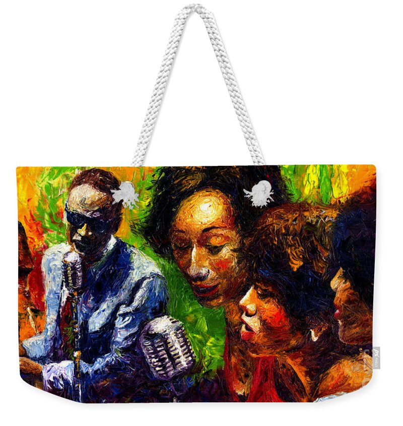 Jazz Weekender Tote Bag featuring the painting Jazz Ray Song by Yuriy Shevchuk
