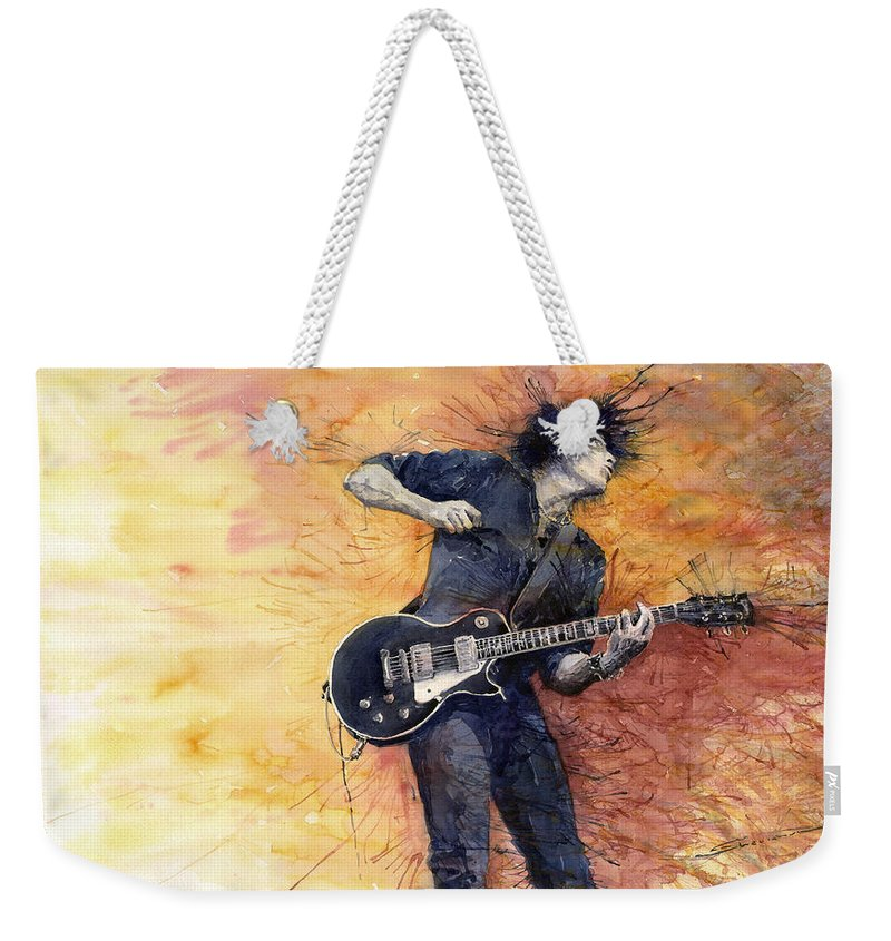 Figurativ Weekender Tote Bag featuring the painting Jazz Rock Guitarist Stone Temple Pilots by Yuriy Shevchuk