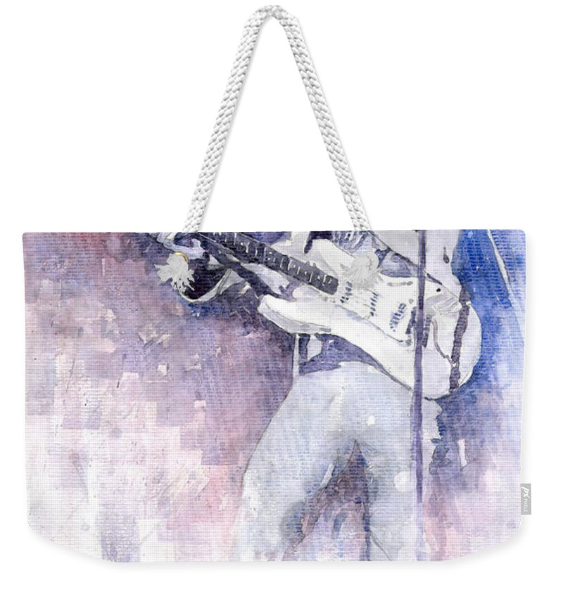 Watercolor Weekender Tote Bag featuring the painting Jazz Rock Jimi Hendrix 07 by Yuriy Shevchuk