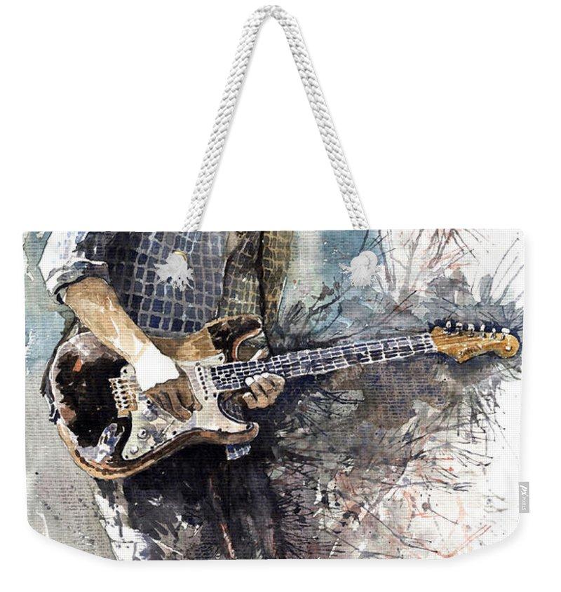 Jazz Weekender Tote Bag featuring the painting Jazz Rock John Mayer 05 by Yuriy Shevchuk