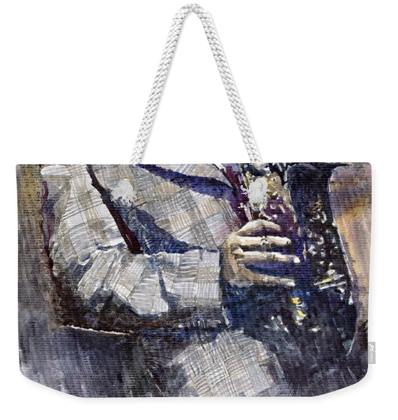 Watercolor Weekender Tote Bag featuring the painting Jazz Saxophonist Charlie Parker by Yuriy Shevchuk
