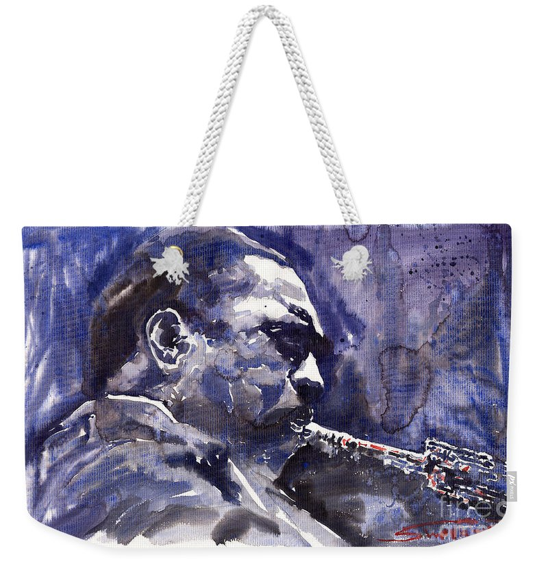Jazz Weekender Tote Bag featuring the painting Jazz Saxophonist John Coltrane 01 by Yuriy Shevchuk