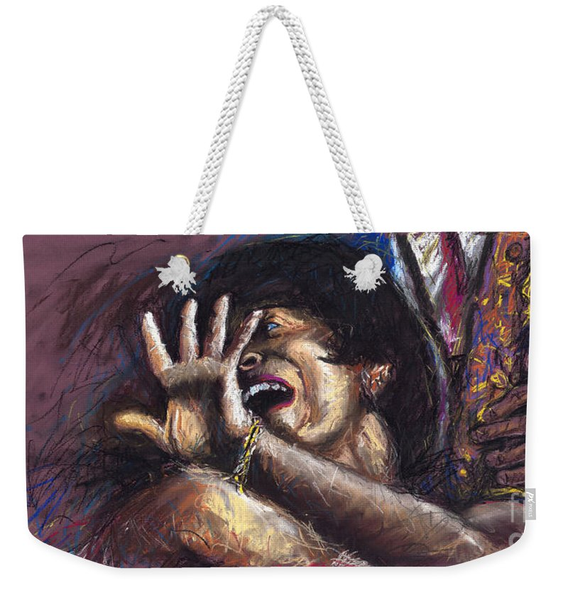 Jazz Weekender Tote Bag featuring the painting Jazz Song 1 by Yuriy Shevchuk