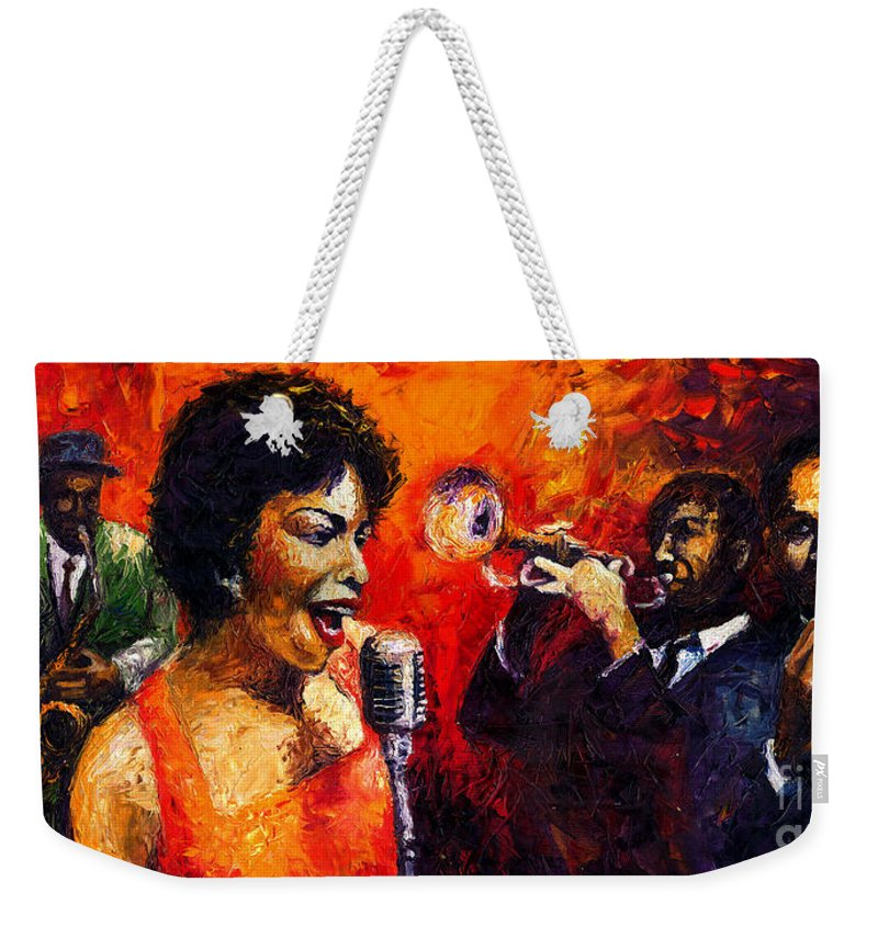 Jazz.song.trumpeter Weekender Tote Bag featuring the painting Jazz Song by Yuriy Shevchuk
