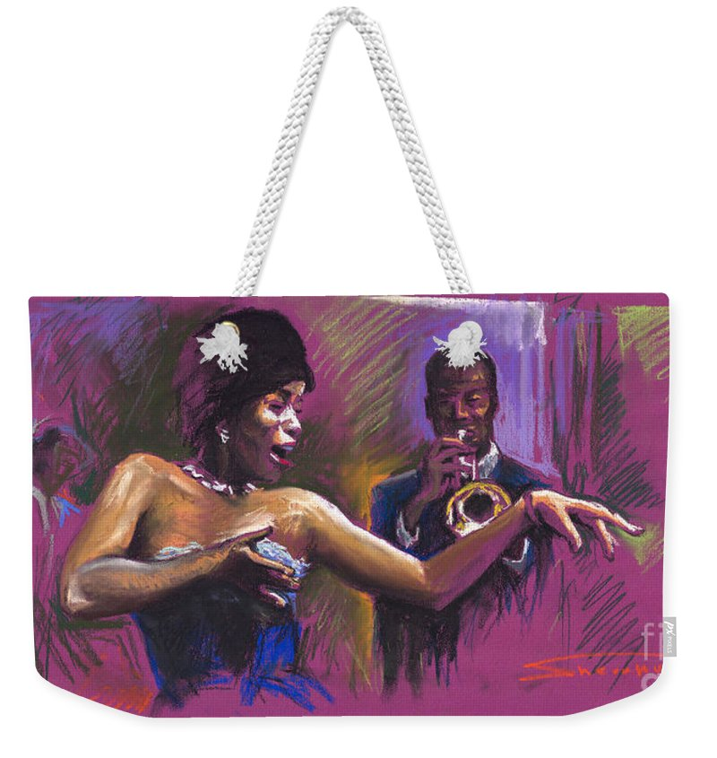 Jazz Weekender Tote Bag featuring the painting Jazz Song.2. by Yuriy Shevchuk
