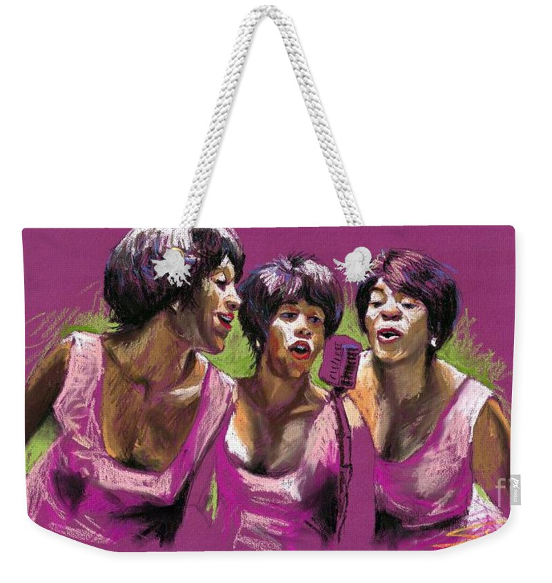 Jazz Weekender Tote Bag featuring the painting Jazz Trio by Yuriy Shevchuk