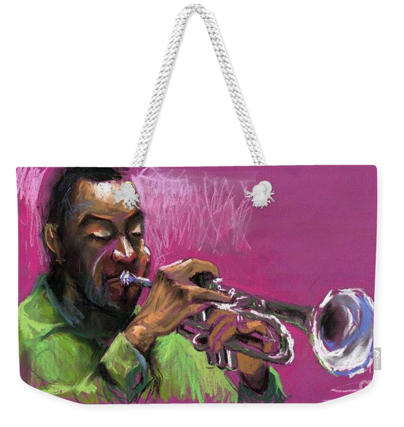 Jazz Weekender Tote Bag featuring the painting Jazz Trumpeter by Yuriy Shevchuk