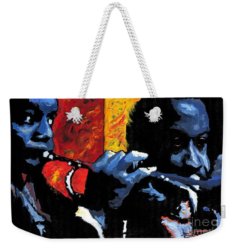 Jazz Weekender Tote Bag featuring the painting Jazz Trumpeters by Yuriy Shevchuk