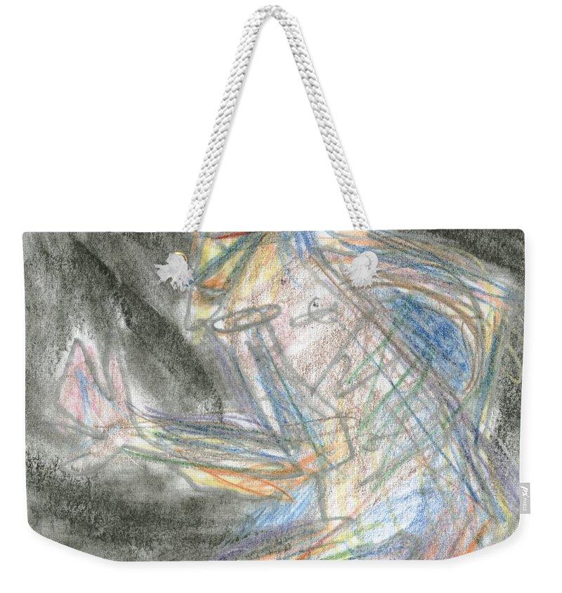 Jazzman Weekender Tote Bag featuring the drawing Jazzman by David Jacobi