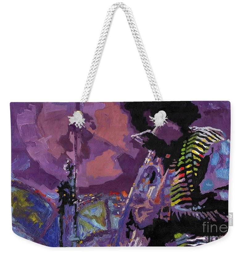Jazz Weekender Tote Bag featuring the painting Jazz.Miles Davis.4. by Yuriy Shevchuk