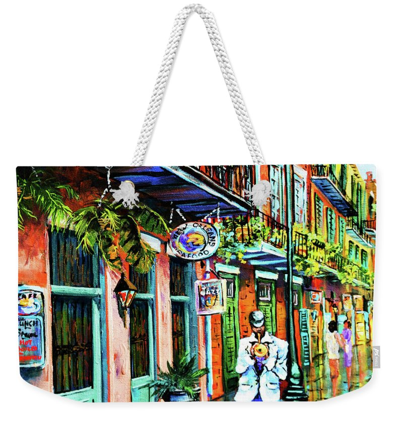 New Orleans Art Weekender Tote Bag featuring the painting Jazz'n by Dianne Parks