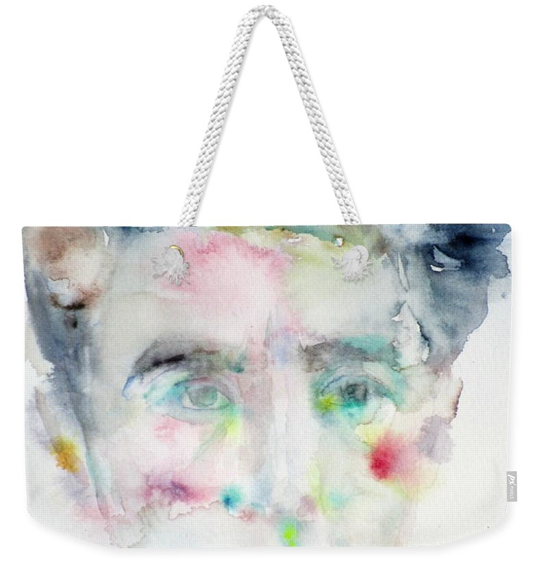 Jean Cocteau Weekender Tote Bag featuring the painting Jean Cocteau - Watercolor Portrait.2 by Fabrizio Cassetta