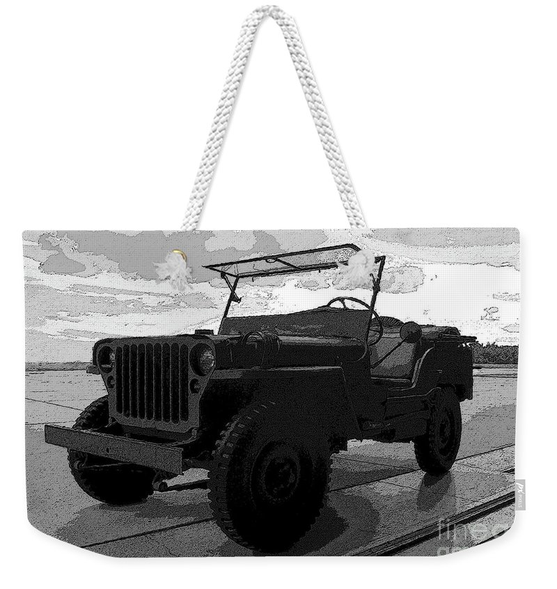 Art Weekender Tote Bag featuring the painting Jeep by David Lee Thompson