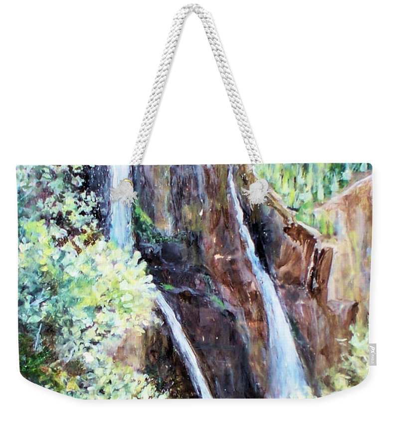 Waterfall Weekender Tote Bag featuring the painting Jeeping At Bridal Falls by Linda Shackelford