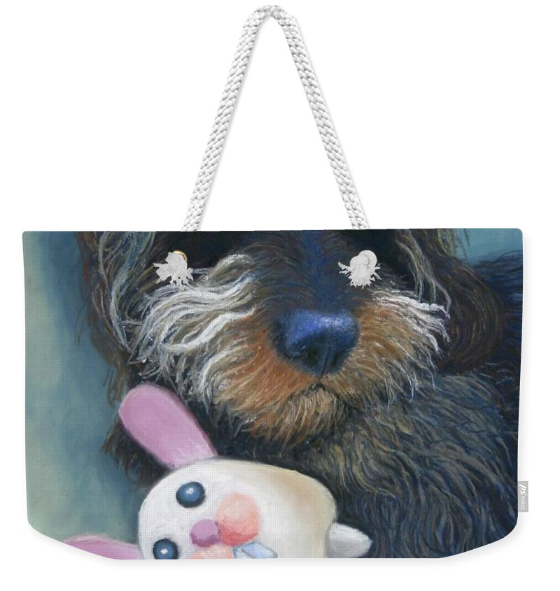 Dog Weekender Tote Bag featuring the painting Jeez Donot Touch Ma Squeez by Minaz Jantz