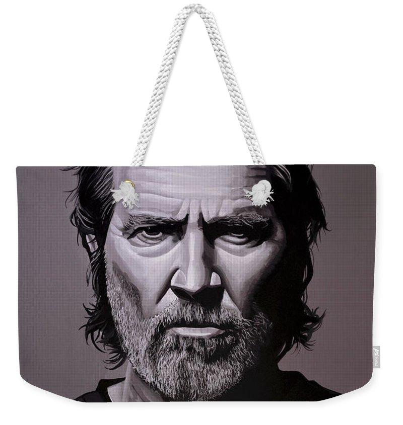 Jeff Bridges Weekender Tote Bag featuring the painting Jeff Bridges Painting by Paul Meijering