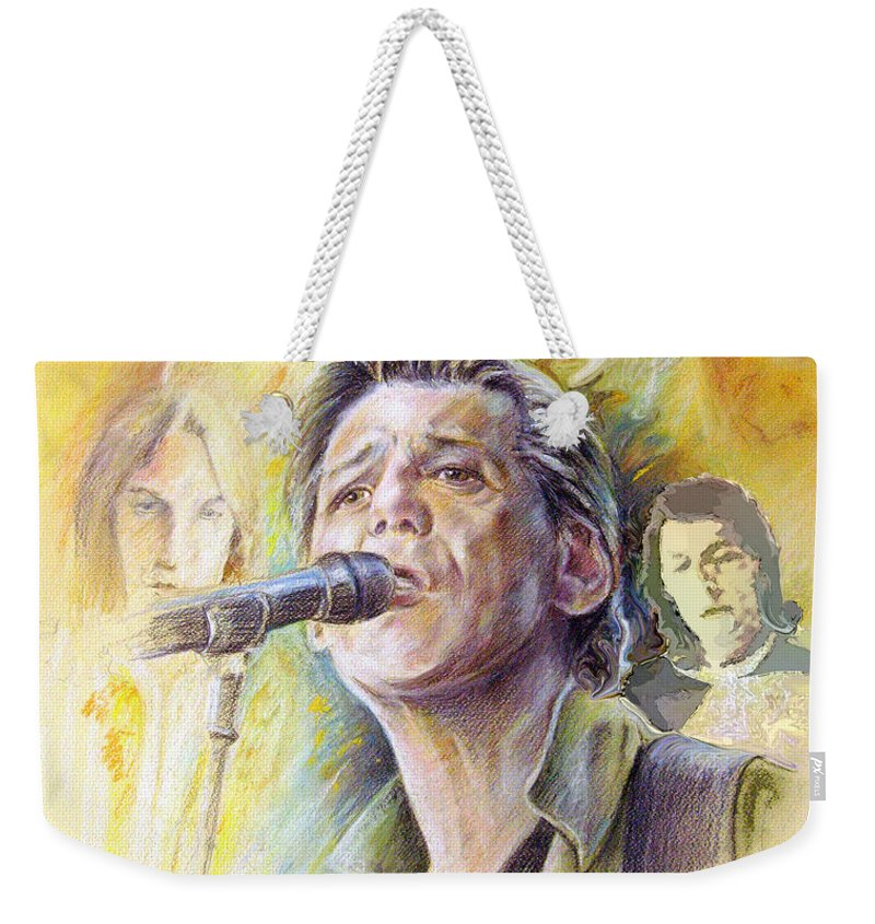 Jeff Christie Weekender Tote Bag featuring the painting Jeff Christie by Miki De Goodaboom