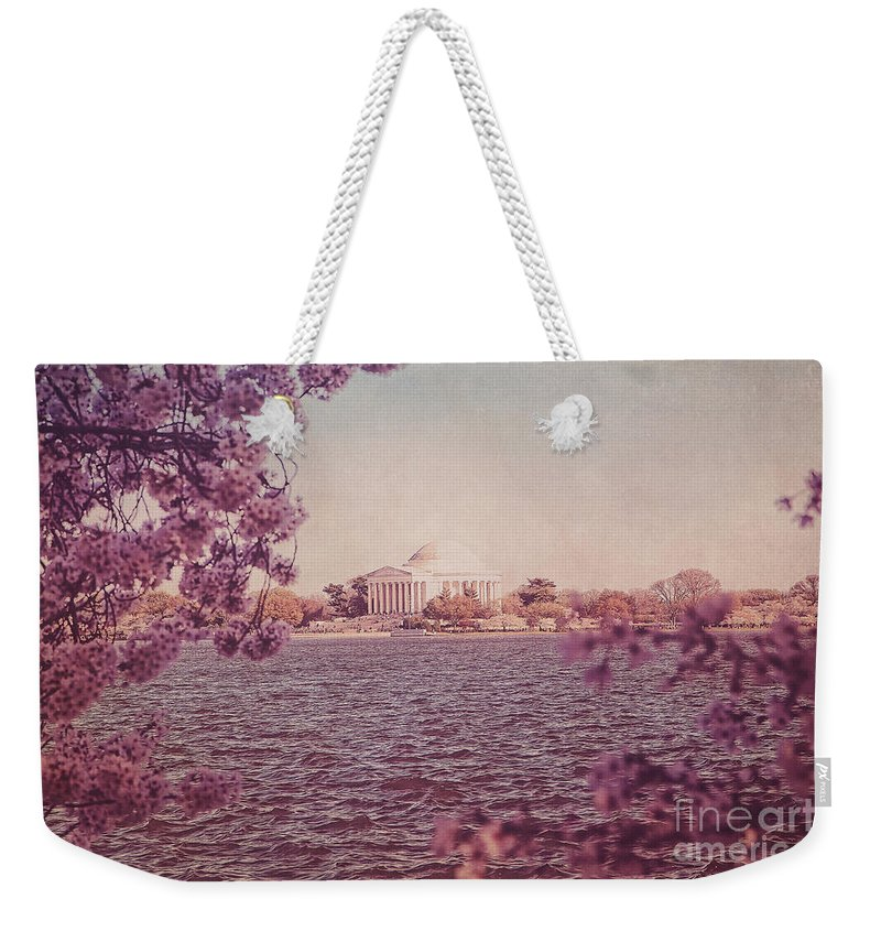 Cherry Blossoms Weekender Tote Bag featuring the photograph Jefferson Memorial During Spring by Emily Kay