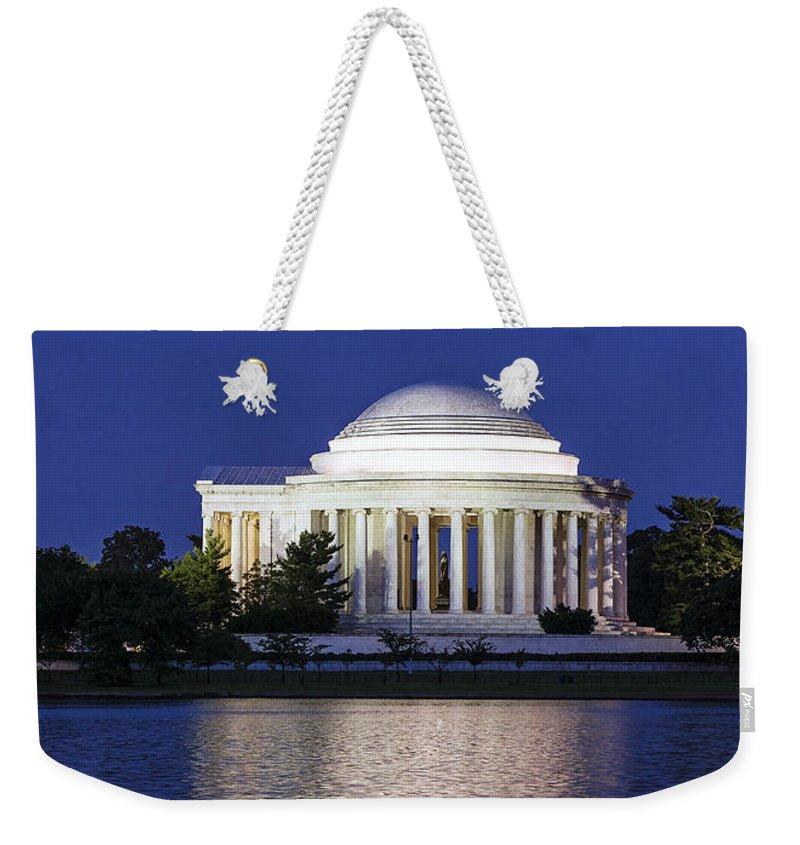 Jefferson Memorial Weekender Tote Bag featuring the photograph Jefferson Memorial Dusk by John Greim