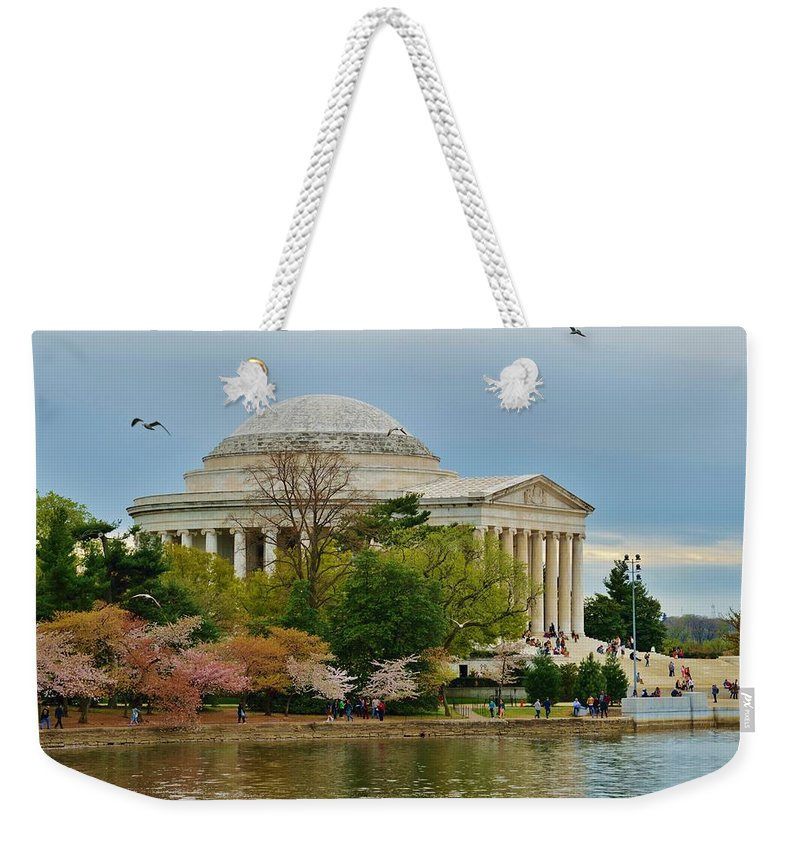 Washington Weekender Tote Bag featuring the photograph Jefferson Memorial, Springtime In Dc Is When Things Bloom, Like The Japanese Cherry Trees by William Bartholomew