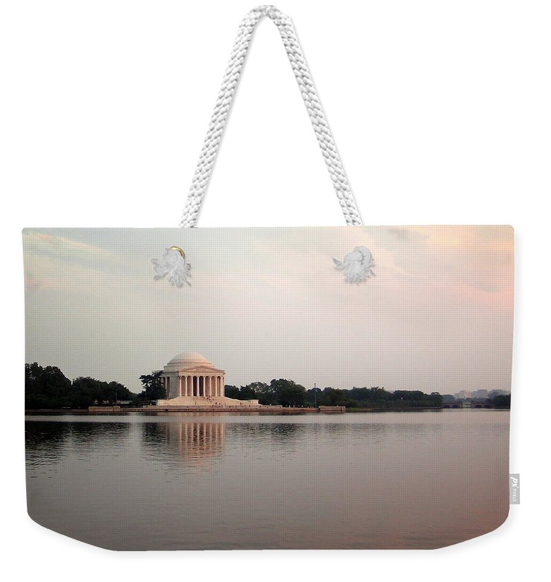 Jefferson Weekender Tote Bag featuring the photograph Jefferson Monument Across The Bay by Douglas Barnett