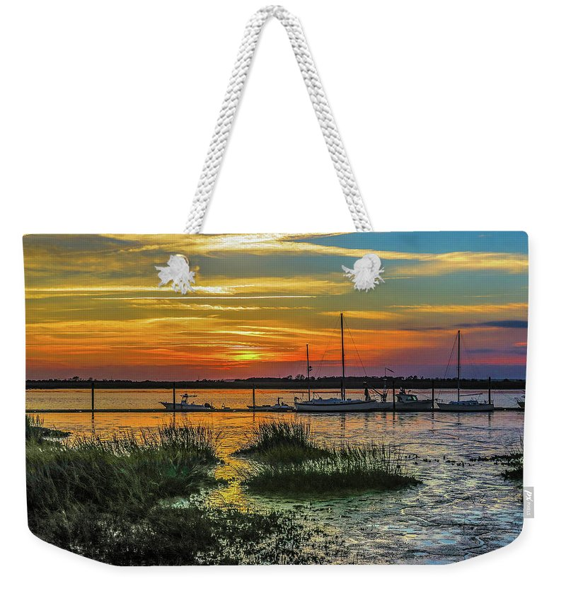 Jekyl Island Weekender Tote Bag featuring the photograph Jekyl Island Sunset by William Randolph