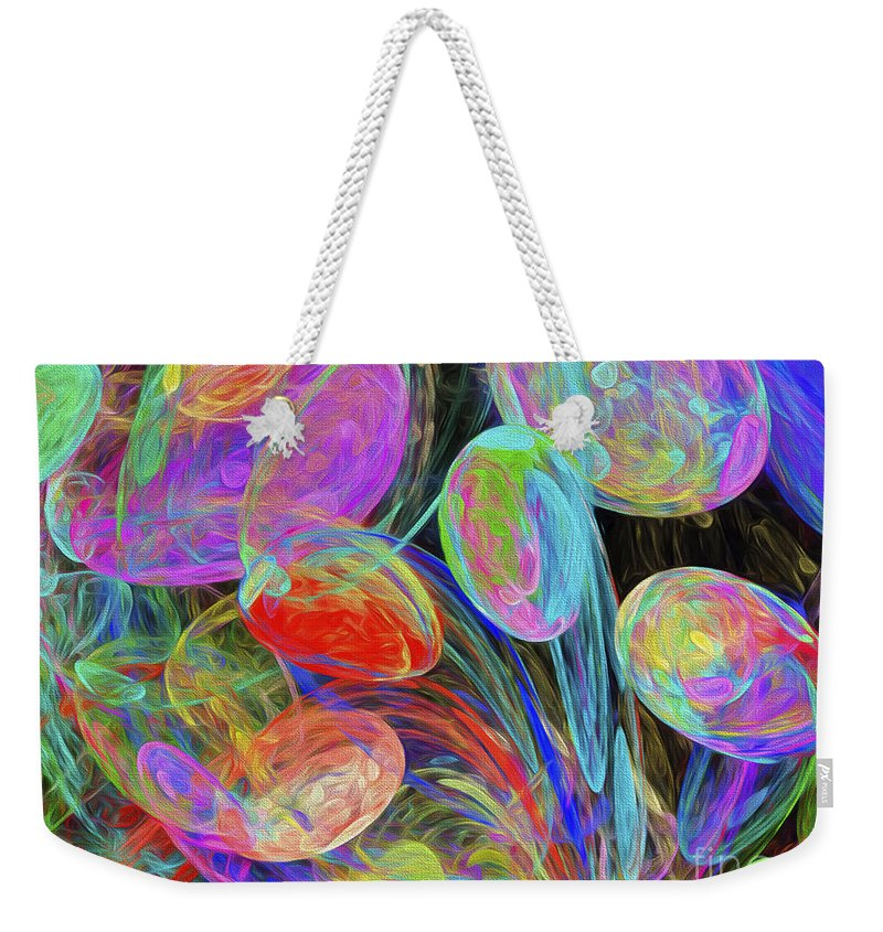 Andee Design Abstract Weekender Tote Bag featuring the digital art Jelly Beans And Balloons Abstract by Andee Design