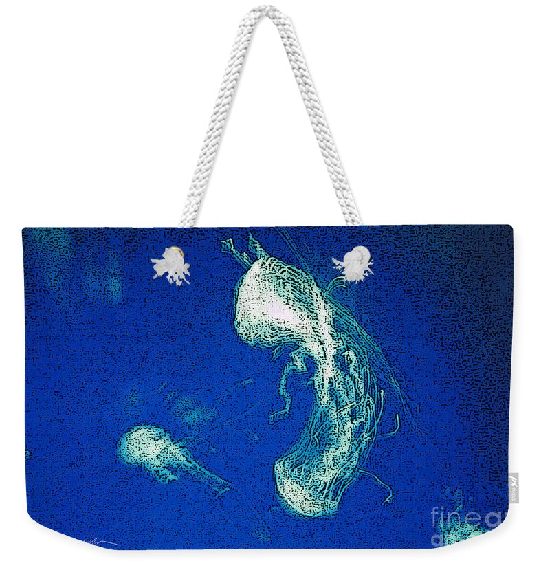 Jelly Fish Weekender Tote Bag featuring the digital art Jelly Fish In Bahamas by Tommy Anderson
