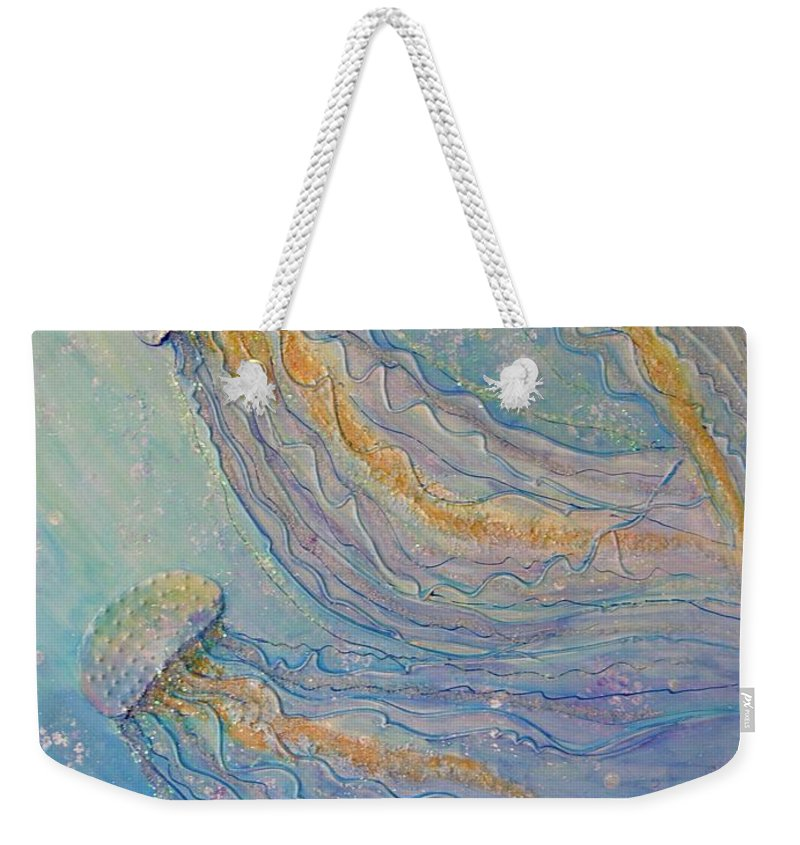 Sparkles Weekender Tote Bag featuring the painting Jellyfish Dance by Midge Pippel